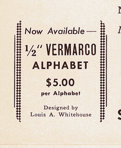 Spacerite Vermarco Alphabet by Louis A. Whitehosue