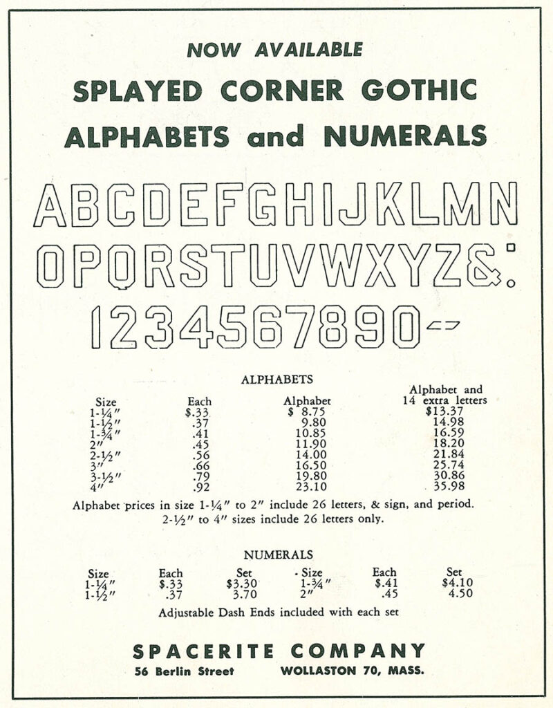 1953 Splayed Corner Gothic Ad
