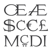 Various glyphs from MLC Special Roman II font.
