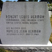 Architect James Rose' custom headstone lettering and design for Commander Robert Herman. Arlington Cemetery.