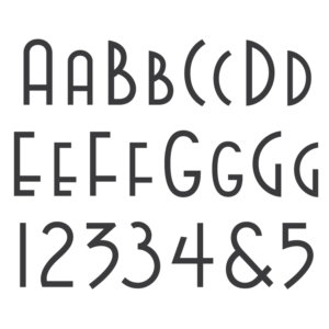 Deco font from architect James Rose. Designed for headstone engraving.