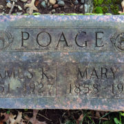 Grave marker with Spacerite Classic Roman lettering.