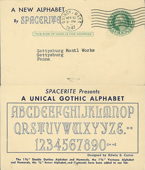 1947 Unical (Uncial) Gothic mailer