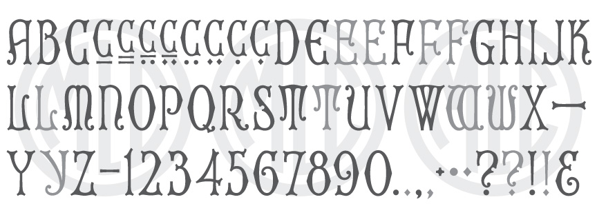 Font based on the Spacerite Uncial Gothic alphabet