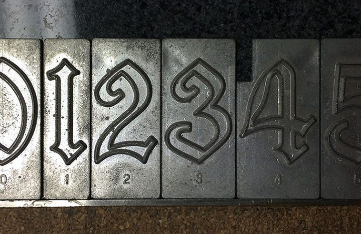 Spacerite Old English numbers.