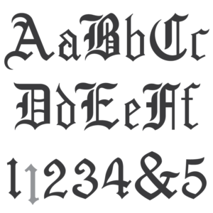 Spacerite Old English font.