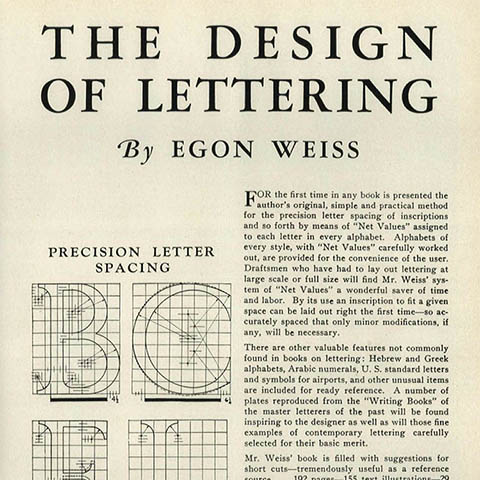 Design of Lettering book by Weiss