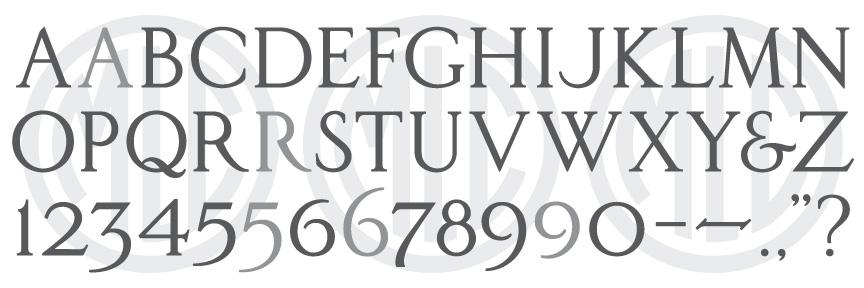 Character map of H&M Classic Roman font.