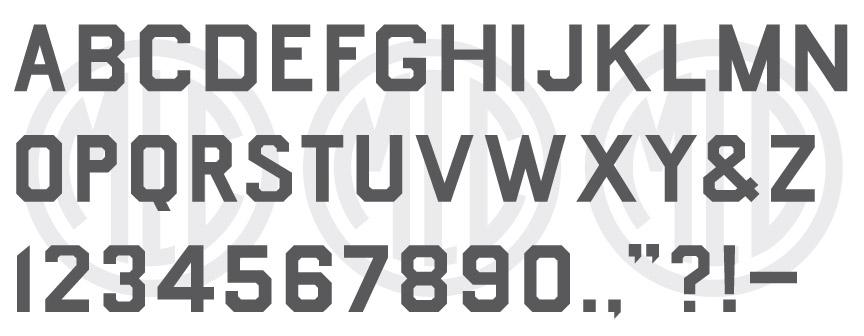 MLC Government Block font.