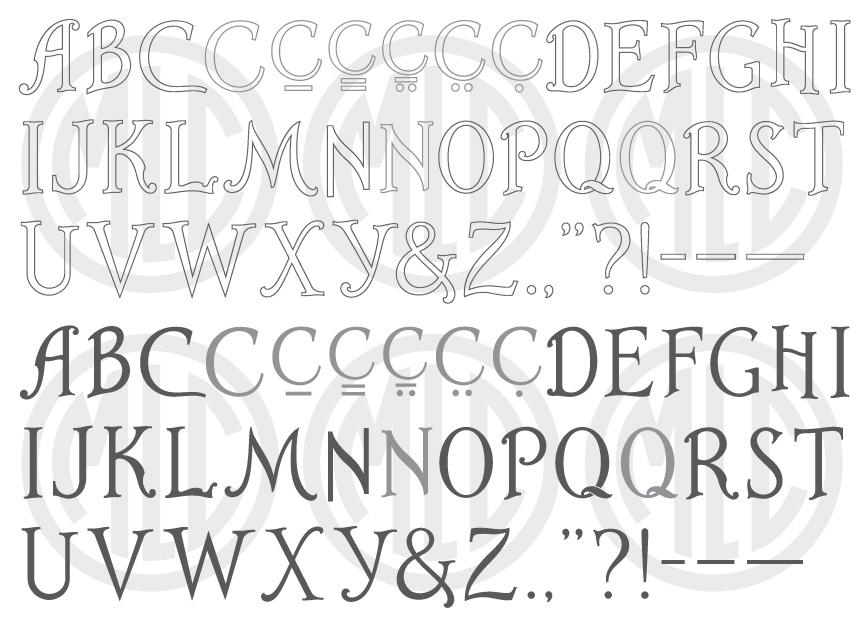 Art-Line headstone font.
