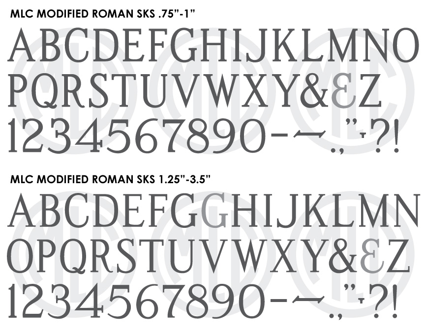 MLC Modified Roman SKS monument font