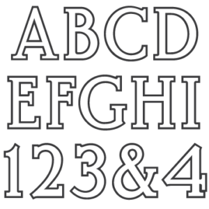 Font for matching ScotchKut Double Outline medium and large sized letter sets.