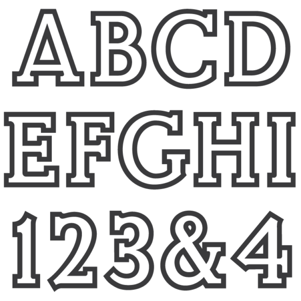 Font for matching ScotchKut Double Outline small sized letter sets.