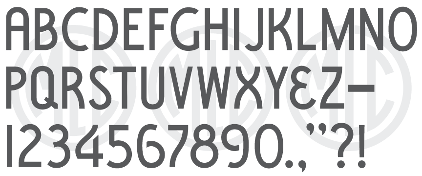 Font based on the PALL Canada Condensed Block stencil press alphabet.