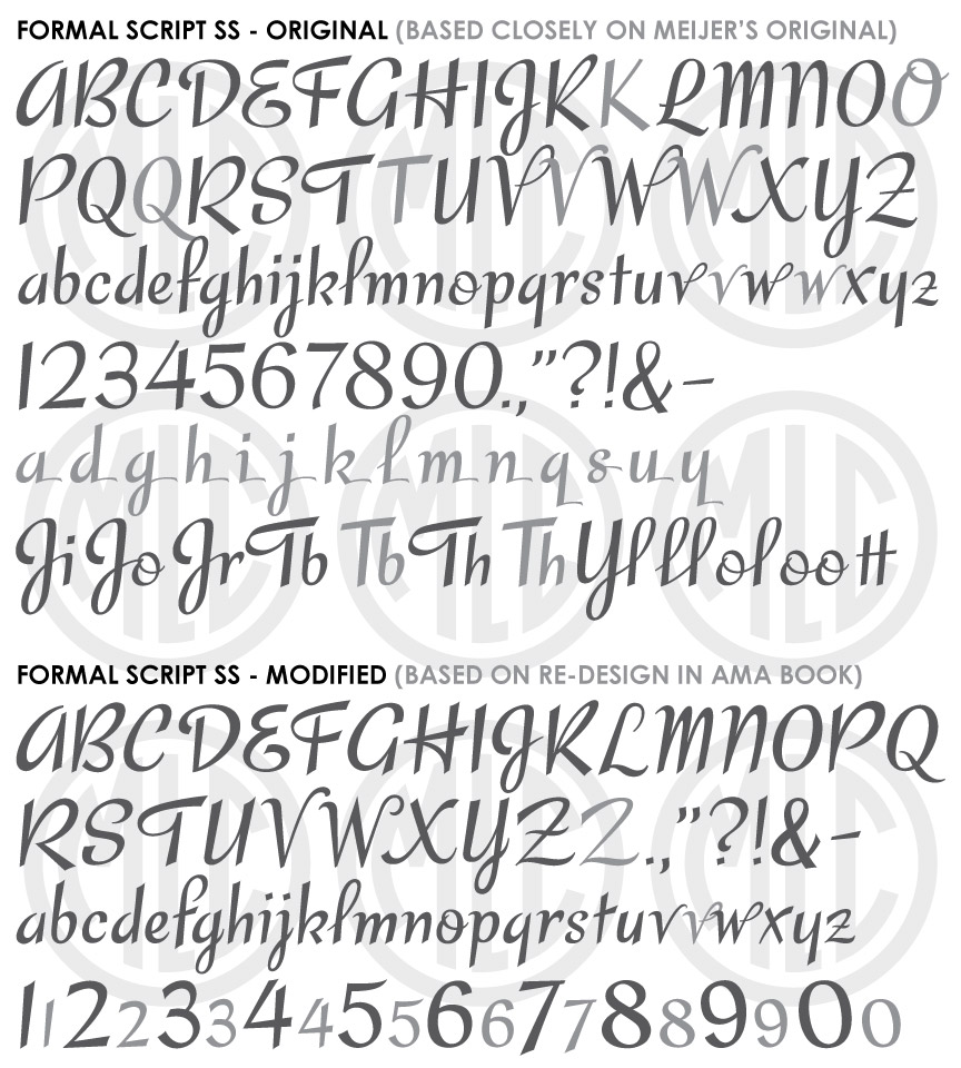 """Two script fonts based on Meijer's Upright Formal Script and a later modified version named """"Brush Script""""."""