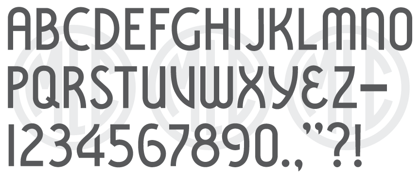 Font based on the PALL Canada Vermarco stencil press alphabet.