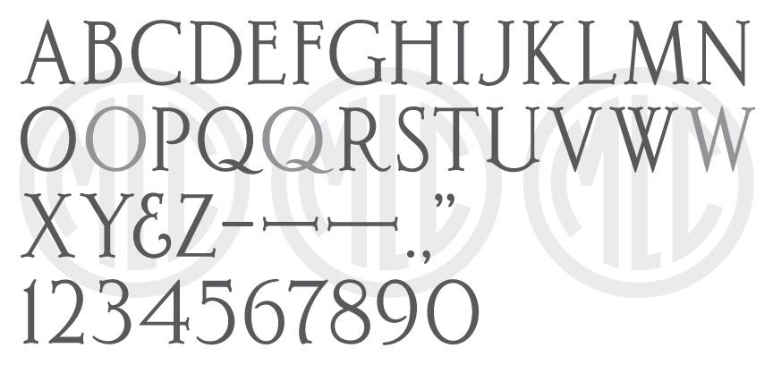 Font based on the Spacerite De Luxe Roman alphabet.