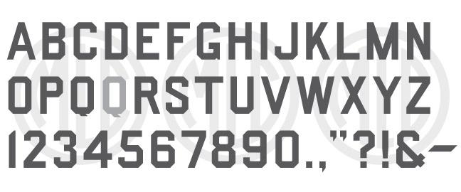 Splayed Corner Gothic Block Font